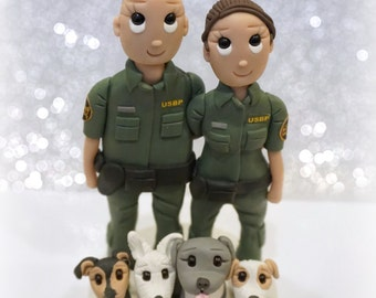 United States Border Patrol Wedding Cake Topper with 4 Dogs