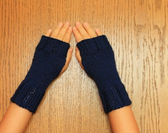 Hand Knit Fingerless Mittens/Texting Gloves - Navy Wrist Warmers- One Size Fits All