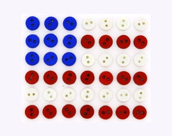 """Dress It Up - 1/4"""" Sew Thru Red, White & Blue Round Buttons (40 Pieces)"""