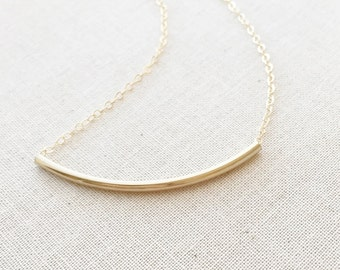 Bar Necklace   Gold Curve Tube Bar Necklace   14K Gold Filled Necklace   Gold Filled Tube Necklace   Skinny Bar Necklace   Birthday Gift