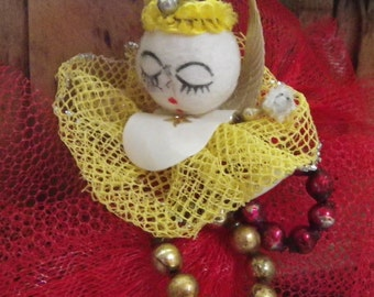 CHRISTMAS ANGEL CORSAGE or Pick, 1950's, Made in Japan Kitsch, Vintage Holiday Decor