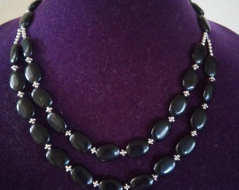 Gorgeous Onyx with Silver Beading Accented Double Layer Necklace