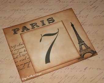 Vintage Style Paris Eiffel Tower French Script Luxury Table Numbers/Names Wedding Original Design