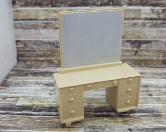 Marx Vintage Bed room Vanity Contemporary Doll House Toy Plastic Furniture