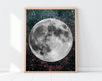 Moon printable, moon picture, moon prints, moon poster, moon wall art, Moon and Stars, space art, astronomy, solar system, kids room prints