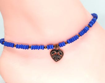 Heart anklet, blue anklet, gift for her, Easter gift