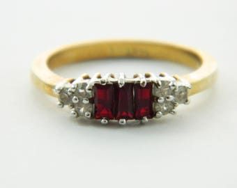 Triple Baguette  Ruby CZ 14k HGE Cocktail Ring - Size 7 Ring - VRE004