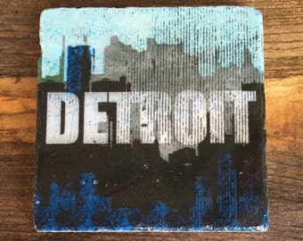 Detroit skyline distressed logo in Sky Blue, Coaster with cork backing