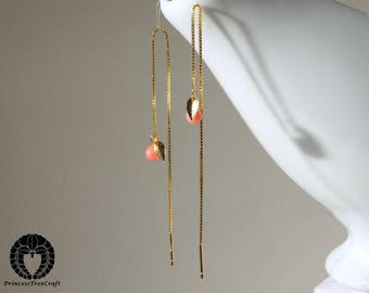 Coral tiny threader earrings with 18K gold on 925 sterling silver threader