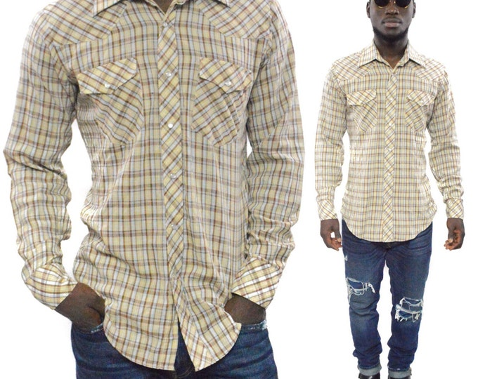 Vintage 80s JC Penney The Western Shop Gingham Button Down Shirt