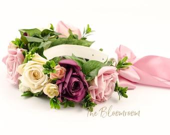 vintage inspired floral dog collar, mauve, cream, marsala, flowers for dogs, dog accessories, pet flower collar, vintage wedding, rose bloom