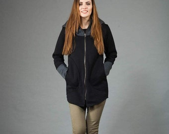 New Colection, Womens hoodies, Cotton Coat,Blazer, Black & Gray Hoodie, Unusual Design,Handmade ,Clothing