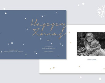 Photo Christmas card, greeting card, personalized, happy Xmas, blue, minimalist, typography, calligraphy, graphic design