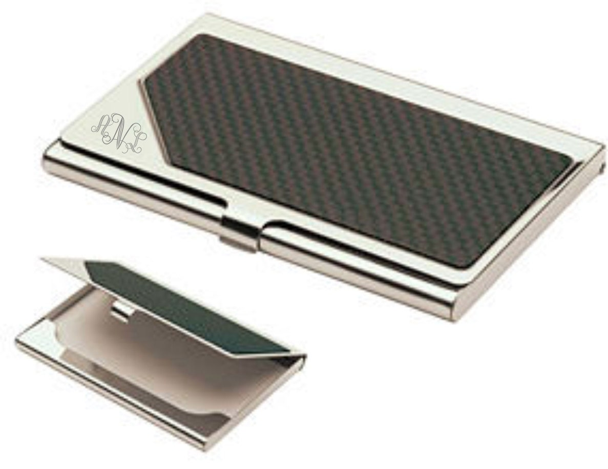 Monogrammed carbon fiber business card holder personalized zoom colourmoves