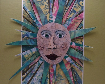 Sun Face Mosaic Collage Original Pen and Ink with Hand drawn and hand  printed papers 8x10 Matted- by Jennifer Obertin
