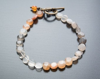 Swirling Moon Bracelet - Gemstones, Semiprecious, Gold Jewelry, Moonstone, Toggle Clasp, Gold Bracelet, Gift For Her, Orange Jewelry, Warm