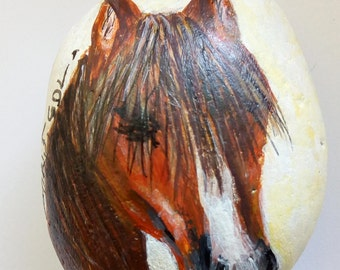 HORSE-Beautiful original one of a kind Acrylic on Rock painting