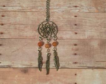 Dreamcatcher with orange glass beads