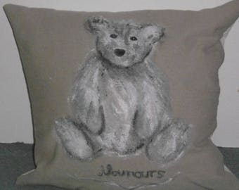gorgeous square cushion with a cute Teddy bear gray and white hand painted