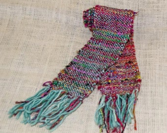 Women's Scarf, Handwoven Recycled Sari Silk, Uruguayan Wool, Mint Green