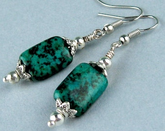 Dangle Earrings, Chrysocolla, Semi Precious Stones, Green Black, Rectangular Beads, Silver Beads, Teal Blue Green, Turquoise, Gift for Her