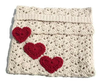 Large Netbook Or Small Laptop Crochet Cover Cozy Sleeve With Red Hearts