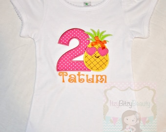 Pineapple Birthday Shirt Girls ANY AGE First Second Third Cute Summer Personalized Custom Name