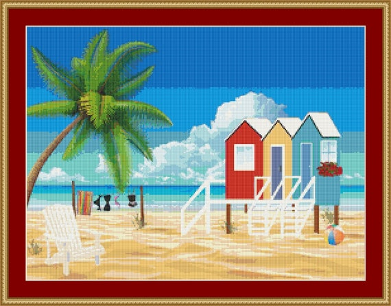 Beach Huts Cross Stitch Pattern - Instant Digital Download