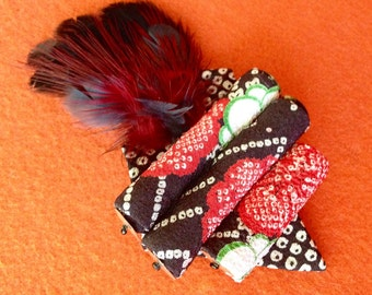 Feather Brooch in Japanese Fabric-SALE
