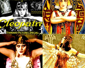Vintage Theda Bara CLEOPATRA MOVIE Posters - Printable Digital Images - Collage Sheets - Instant Download - 3 PNG Files 4x4. 2x2. 1x1