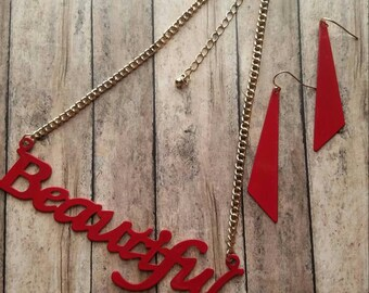 Beautiful Necklace Set Gifts for Her Statement Necklace Dangle Earrings Trending Jewelry Red and Gold Gifts for Teens Choker Necklace Set