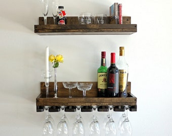 Rustic Wine Rack Shelf & Hanging Stemware Glass Holder | Wall Mounted Bar Shelf Organizer