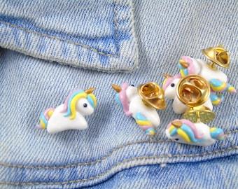 Rainbow Unicorn Pin - Cute Polymer Clay Shiny  Unicorn Miniature Accessory - Girl Gift - Kawaii Unicorn Lover Gift - White Rainbow Gold
