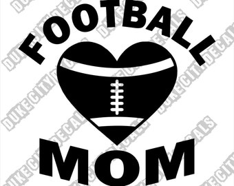 Football Mom Heart Vinyl Sticker Decal - Team Mom Decal - Love Football