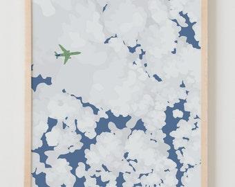 Fine Art Print.  Clouds, Sky, and Airplane.  January 9, 2014.