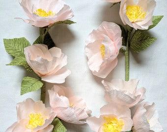 Paper Flowers - A Dozen Paper Wild Roses - Light Pink - Gift - Nursery Decor - Home Decor