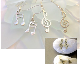 Music Note Earrings, Music Symbol Earrings, Music Earrings, Treble Clef Earrings, Treble Clef Charm, Music Jewelry
