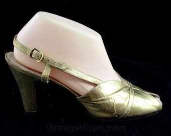 Size 8 Ferragamo Shoes - Authentic 1930s Deco Era Gold Leather Heels - As Is - Metallic 30s Hollywood Glamour Girl Open Toe - 8B - 47100