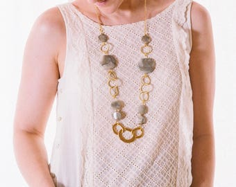 Long Beaded Chain Necklace, Long Gold Necklace, Long Beaded Necklace, Fashion Long Necklace, Chunky Necklace,Long Necklace Chain, Big Beads