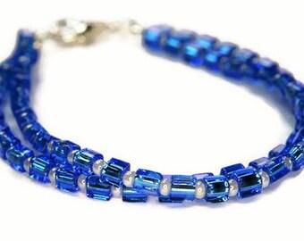 Blue and White Multi Strand Glass Cube Bracelet