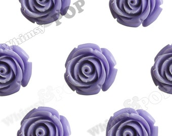 Large Purple Rose Beads, Flower Beads, 21mm Flower Beads, Drilled Flowers (R7-079)