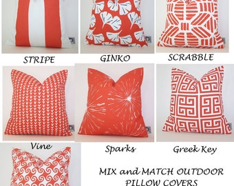 ORANGE Outdoor Pillow -  Patio PILLOW - Outdoor - Various Sizes - Deck Pillow - Accent Pillow - Beach - Beachhouse  - 20x20,18x18,22x22