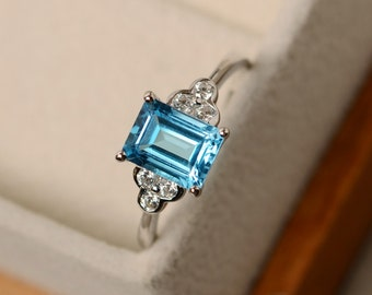 Swiss blue topaz ring, silver, blue topaz jewelry, promise ring