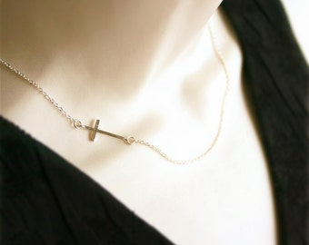 Sideway Cross Necklace, Silver Sideway Cross, Sterling Silver, Gift, Everyday Jewelry