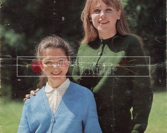 Teenager Cardigans 12-16 Years DK Sirdar 745 Vintage Knitting Pattern PDF instant download