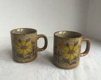 Vintage Floral Stacking Mugs Orange and Yellow Daisy Brown Pottery Teacups