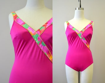 1980s Roxanne Pink Crossover Swimsuit