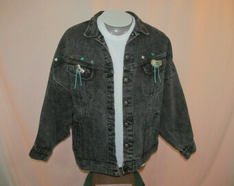 vintage lee denim jacket womens large gray cowboy western cowgirl made in usa