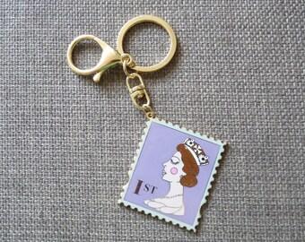 Enamel 1st Class Stamp Keyring