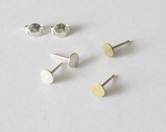Sterling silver post earring-Brass stud earring-Handmade tiny earring-Everyday jewelry-Minimalist-Geometric stud-For her.